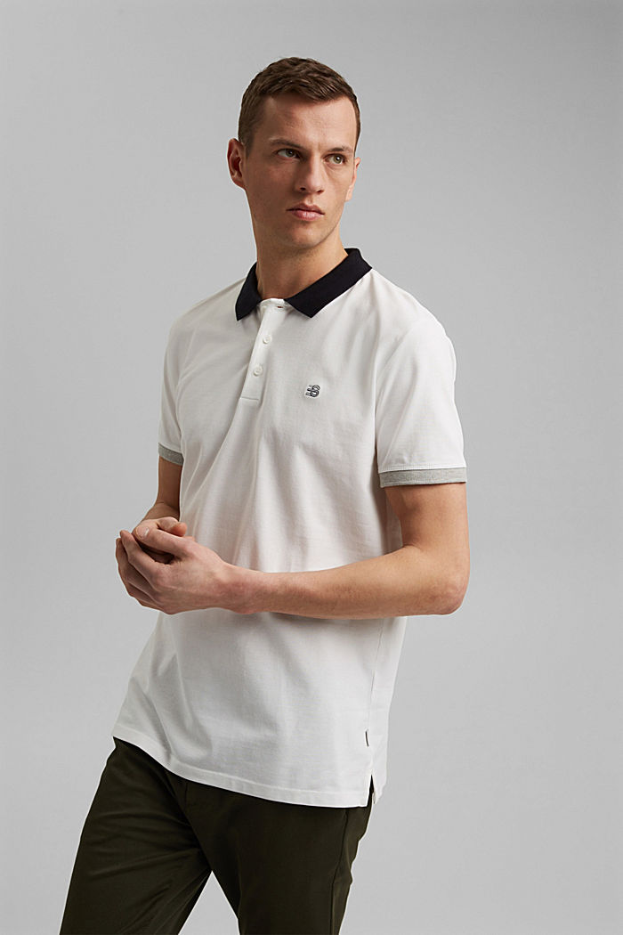 Piqué polo shirt in organic cotton, OFF WHITE, detail image number 0