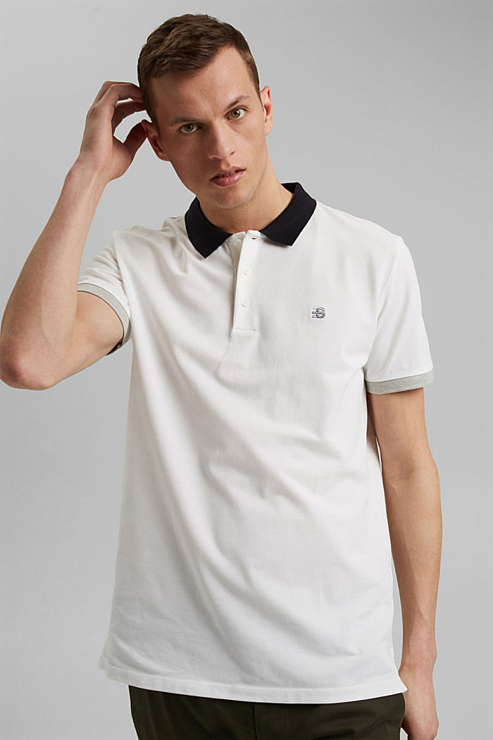Piqué polo shirt in organic cotton, OFF WHITE, detail image number 4