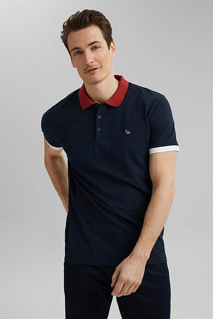 Piqué polo shirt in organic cotton, NAVY, detail image number 0