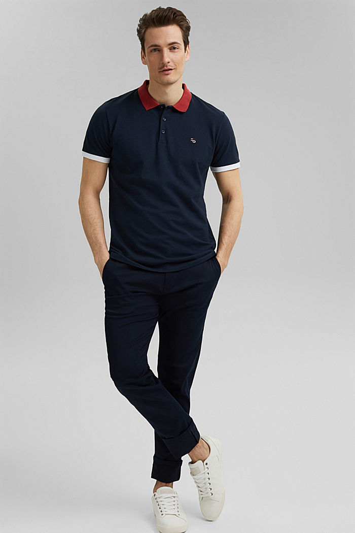 Piqué-Poloshirt aus Organic Cotton, NAVY, overview