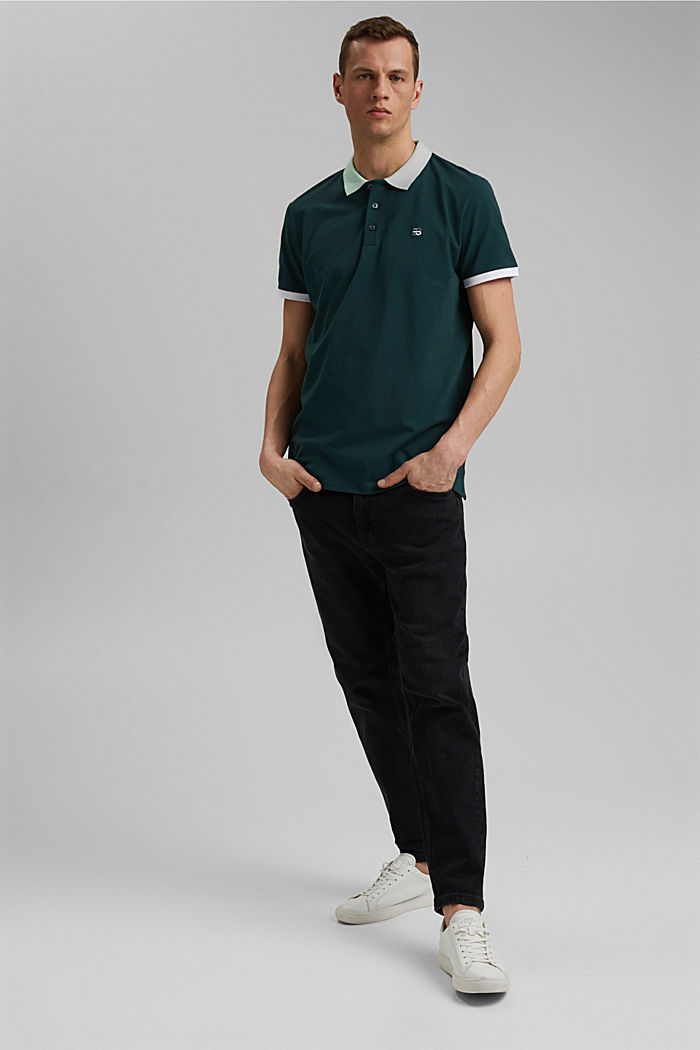 Piqué polo shirt in organic cotton, TEAL BLUE, detail image number 2