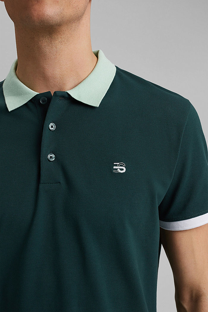 Piqué polo shirt in organic cotton, TEAL BLUE, detail image number 1