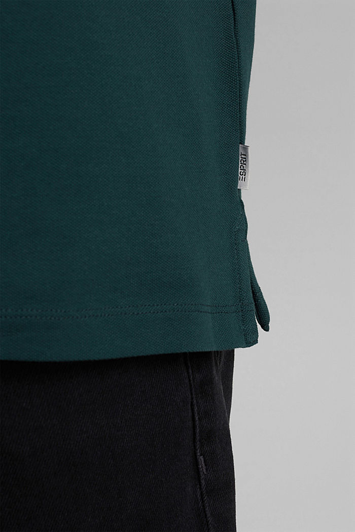 Piqué polo shirt in organic cotton, TEAL BLUE, detail image number 6