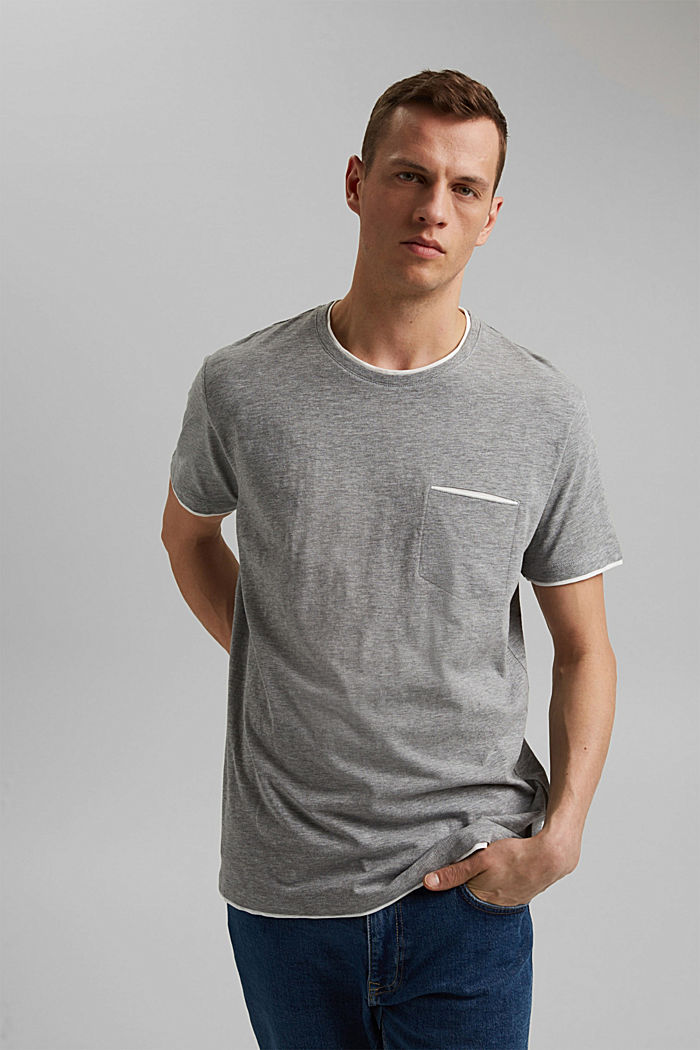 Layer-Jersey-Shirt mit Organic Cotton, MEDIUM GREY, detail image number 0