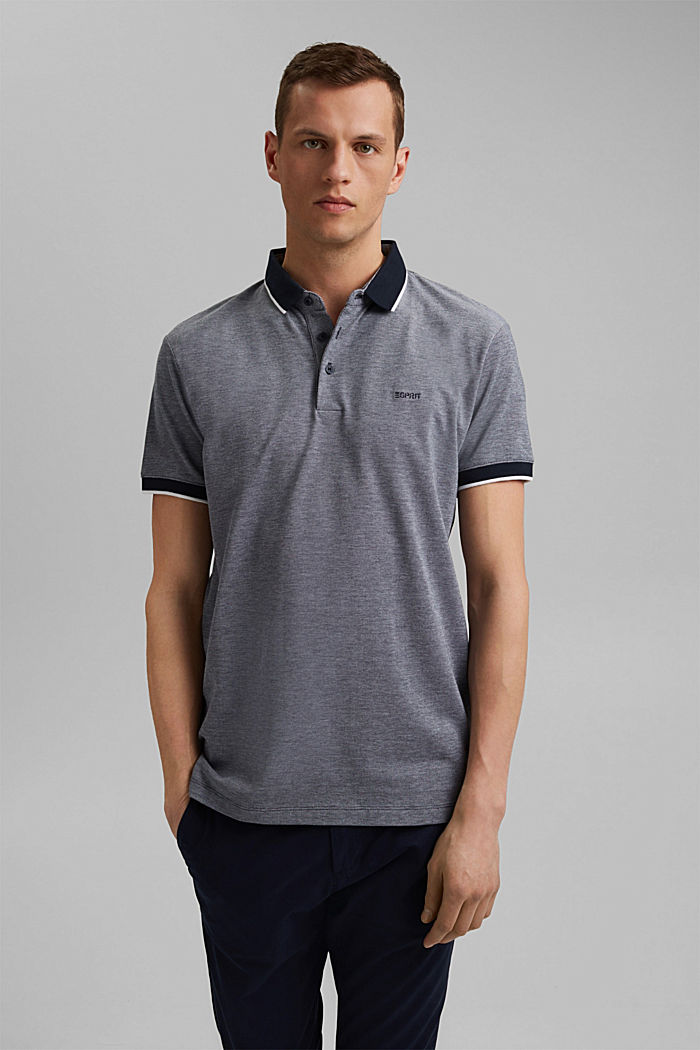 Piqué polo shirt made of 100% organic cotton, NAVY, detail image number 0