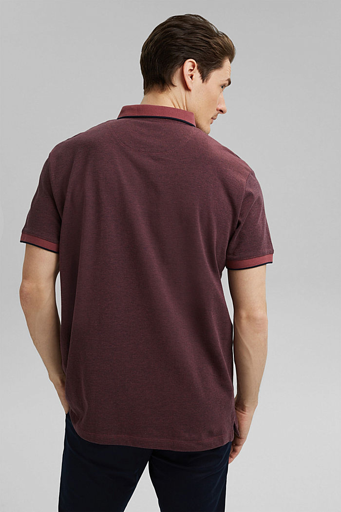 Piqué-Poloshirt aus 100% Organic Cotton, BERRY RED, detail image number 3