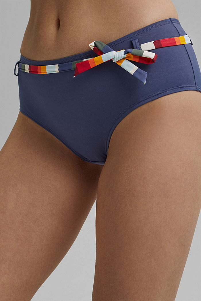 Hipster shorts with tie-around belt and stripes, NAVY, detail image number 2