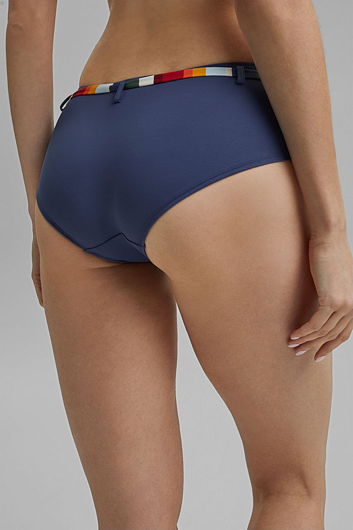 Hipster shorts with tie-around belt and stripes, NAVY, detail image number 4