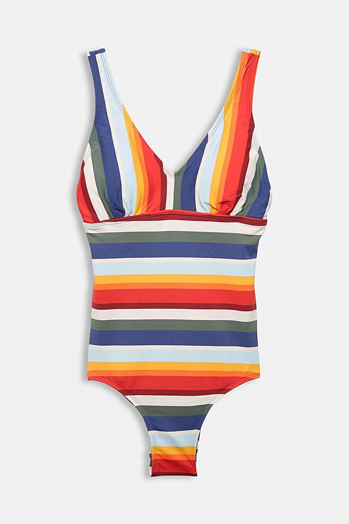 Wattierter Badeanzug mit Streifen