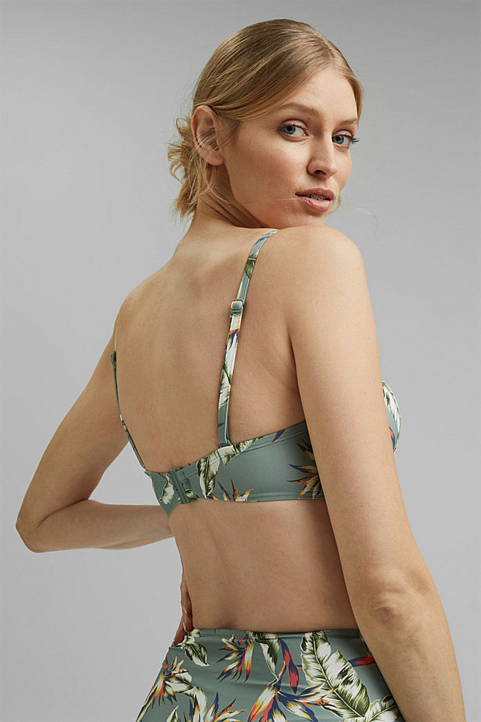 Recycled: underwire bikini top with a tropical print, LIGHT KHAKI, detail image number 1