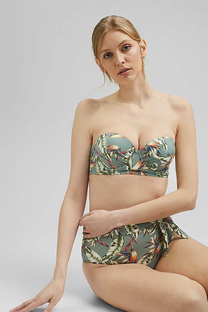 Recycled: underwire bikini top with a tropical print, LIGHT KHAKI, detail image number 2