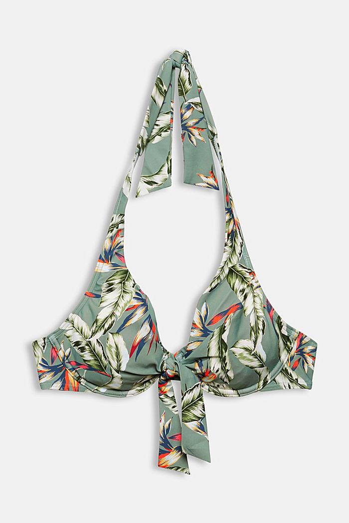Recycelt: Neckholder-Top mit Tropical-Print