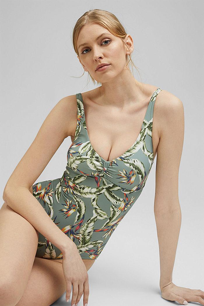Z recyklingu: wyściełany strój kąpielowy z nadrukiem, LIGHT KHAKI, detail image number 3