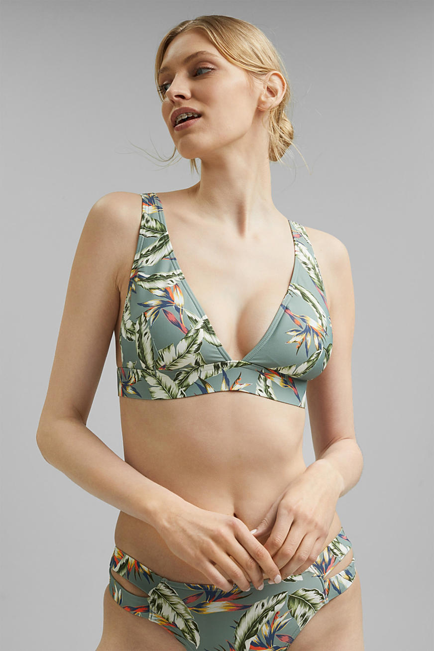 Recycled: non-wired bikini top with a tropical print