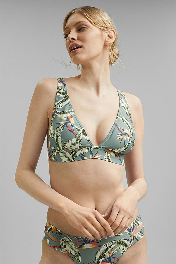 Recycled: non-wired bikini top with a tropical print, LIGHT KHAKI, detail image number 0