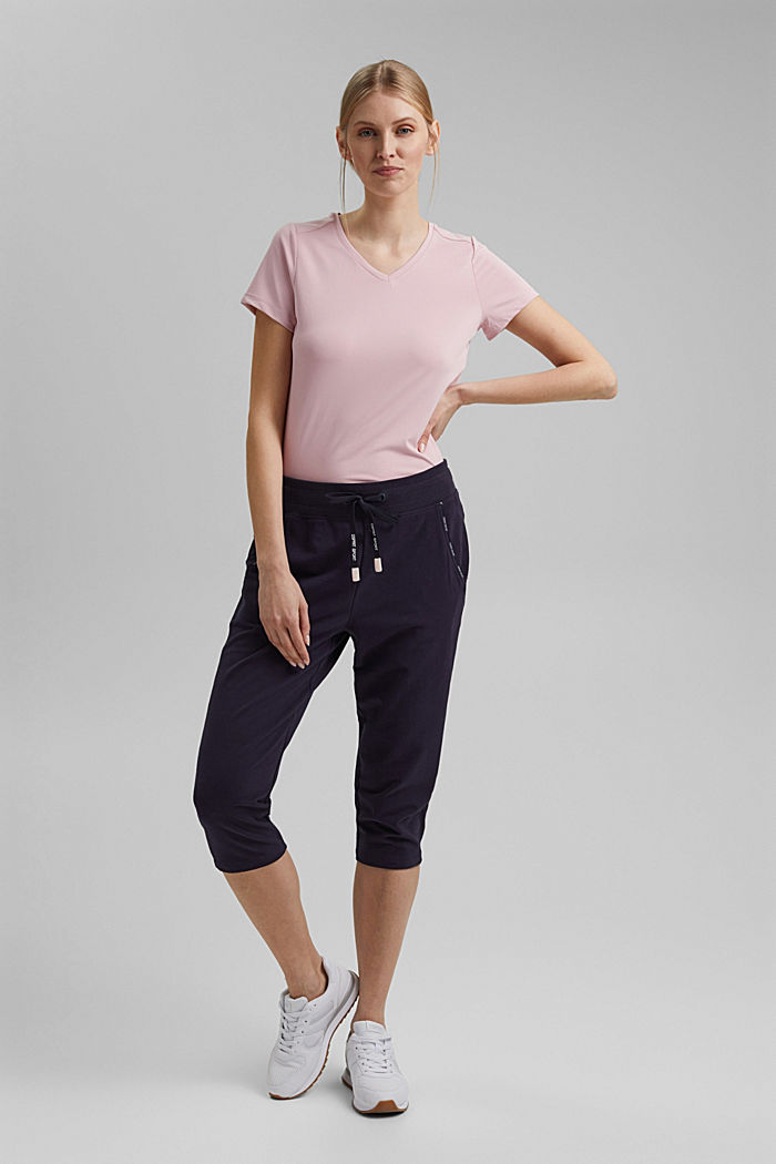 Capris with organic cotton, NAVY, detail image number 1