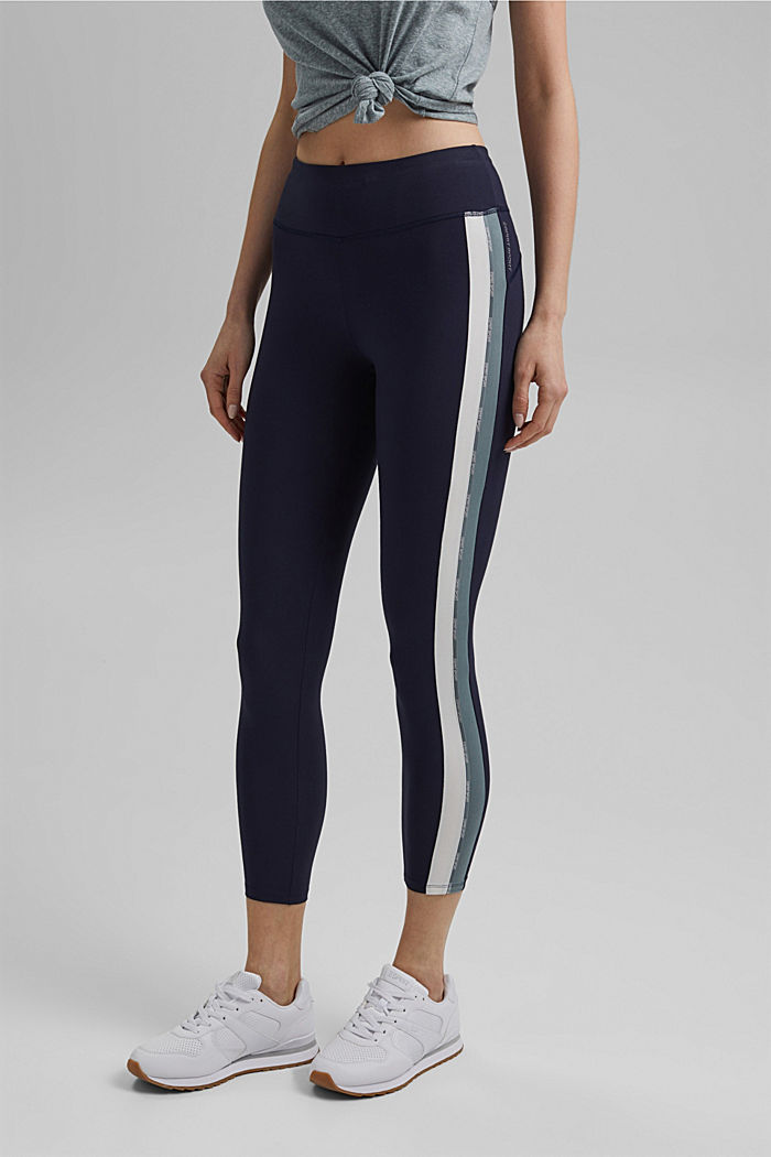 Recycled: high-performance leggings with an E-DRY finish, NAVY, detail image number 0