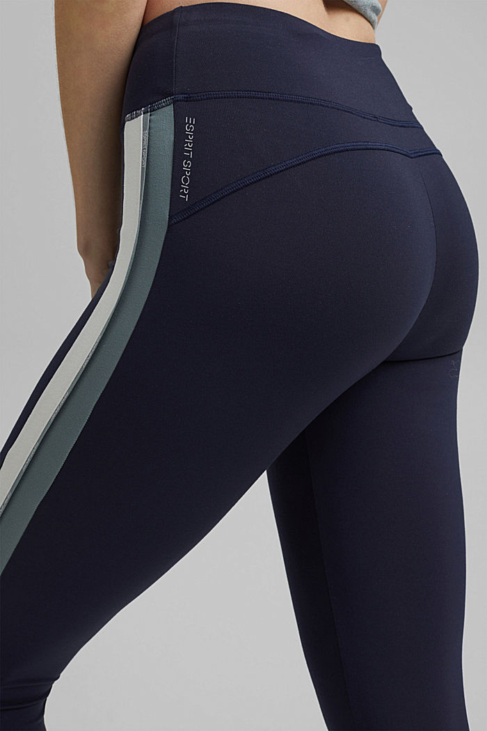 Recycled: high-performance leggings with an E-DRY finish, NAVY, detail image number 2
