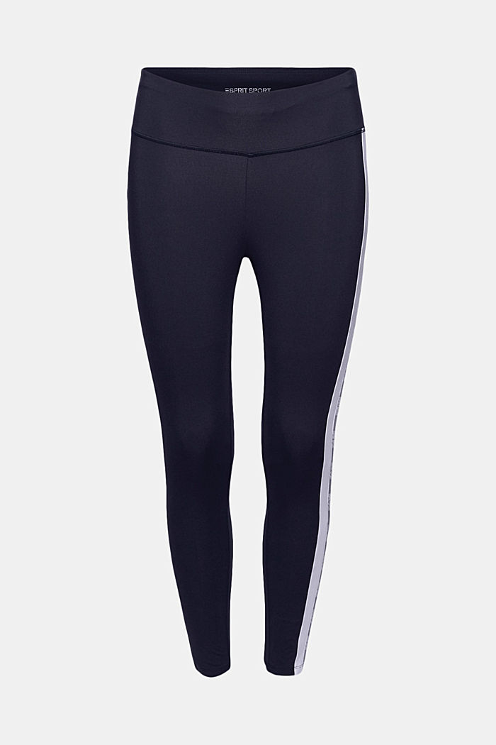 Recycled: high-performance leggings with an E-DRY finish, NAVY, overview