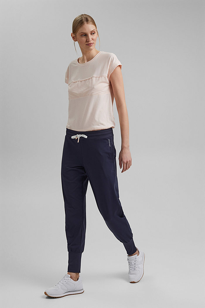 Recycled: Jersey trousers with E-DRY, NAVY, detail image number 1