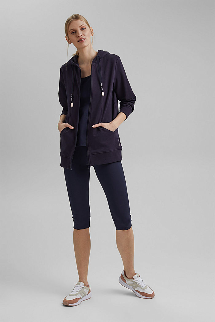 Zip-up cardigan with organic cotton, NAVY, detail image number 1