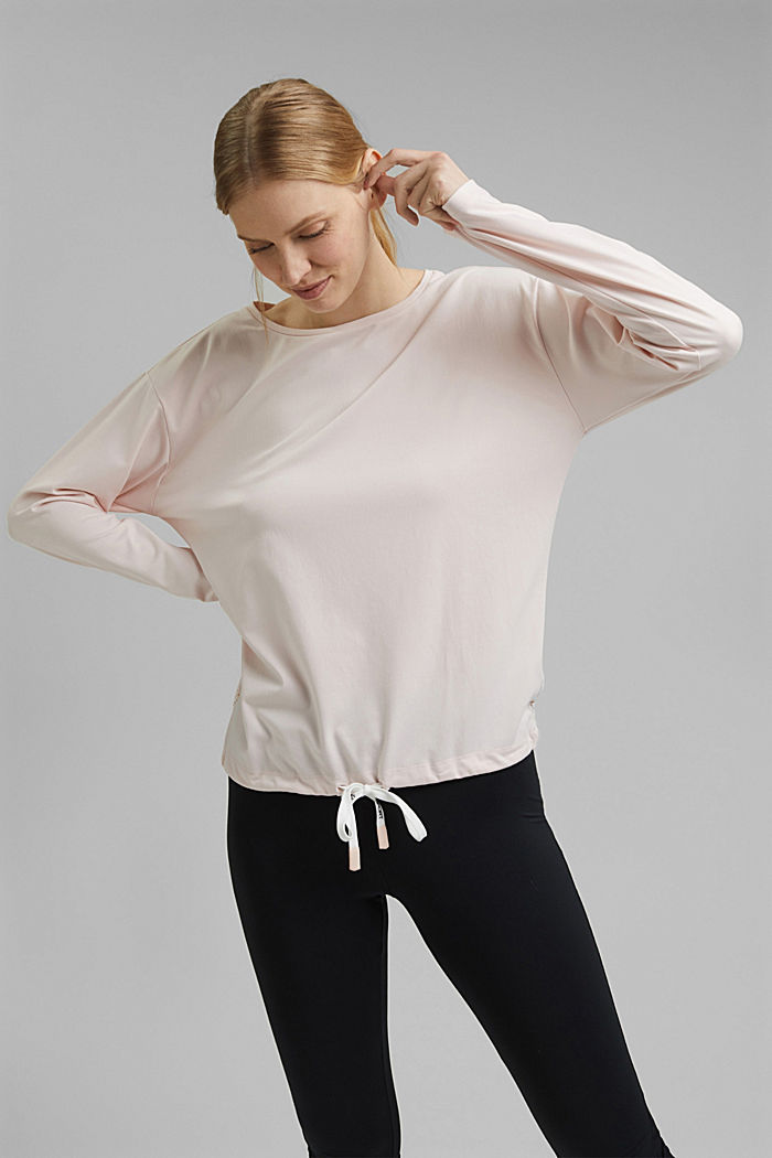 Recycled: long sleeve top with laser-cut details and E-DRY, PEACH, detail image number 0