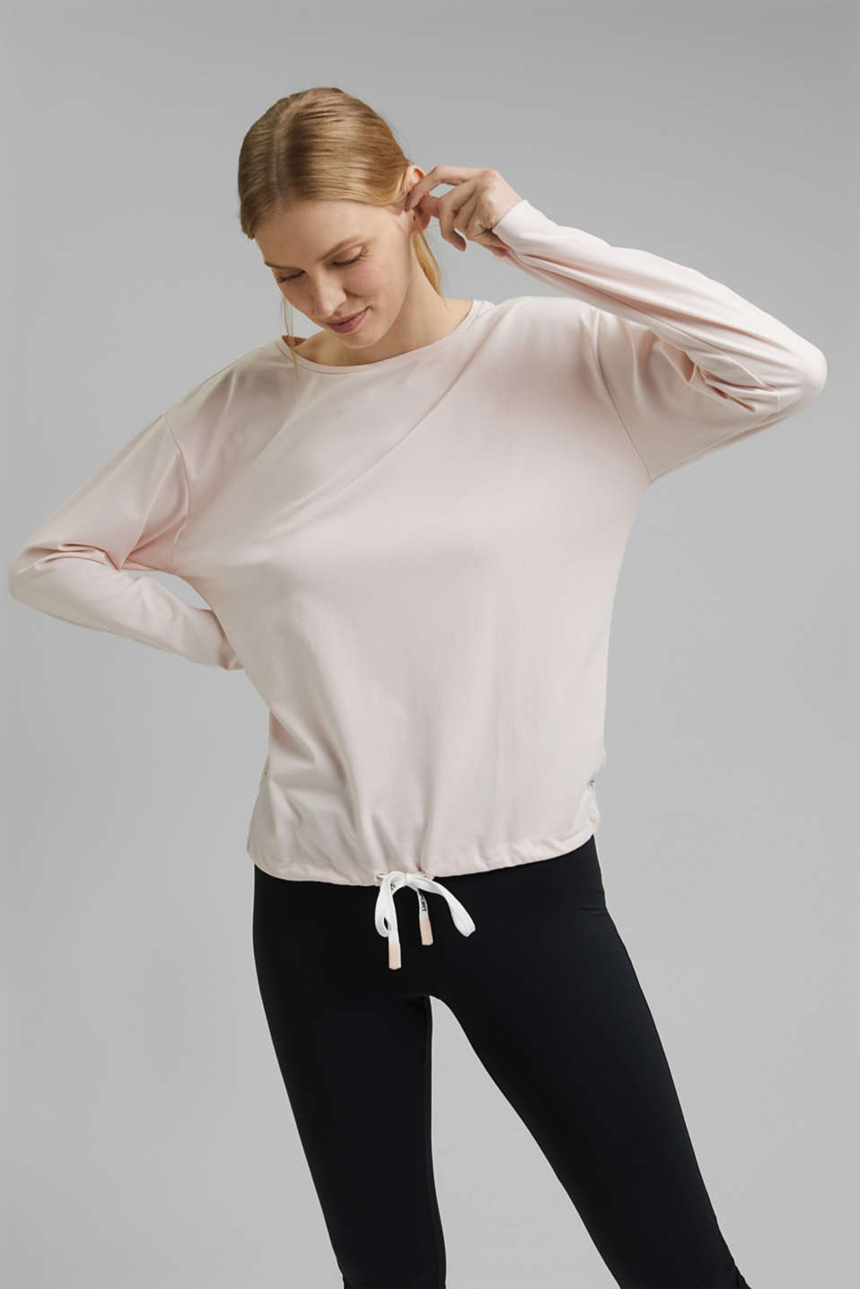 Esprit - Recycled: long sleeve top with laser-cut details and E-DRY