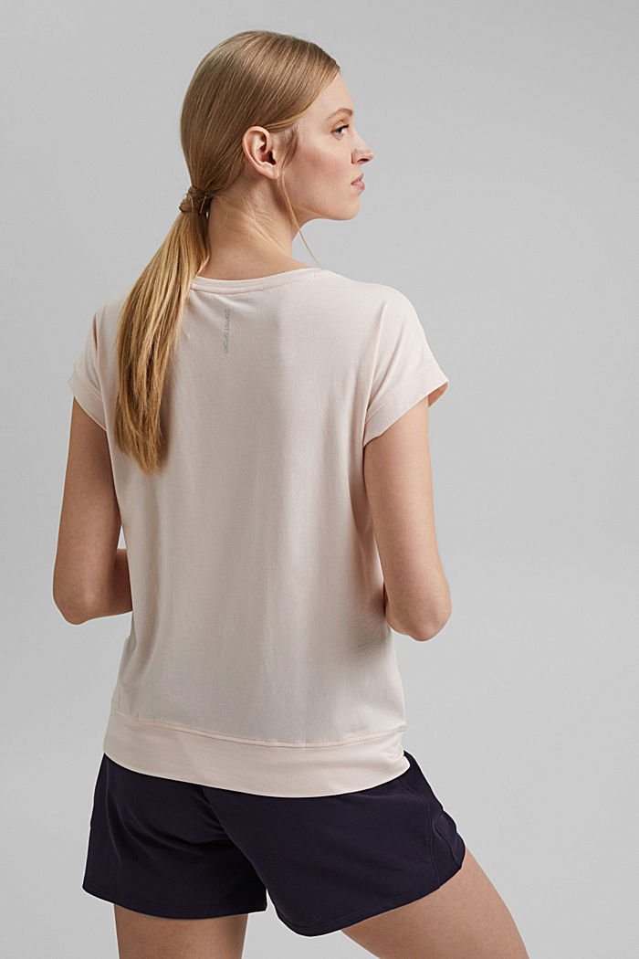 T-Shirt mit Mesh-Einsatz, Organic Cotton, PEACH, detail image number 3