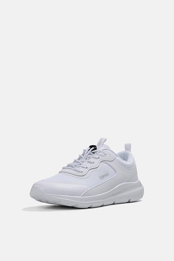 Trainers in a mix of materials, WHITE, detail image number 2