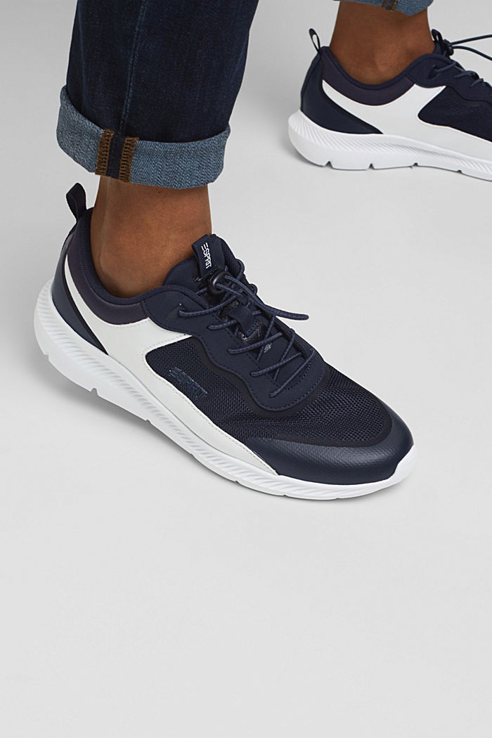Trainers in a mix of materials, DARK BLUE, detail image number 3