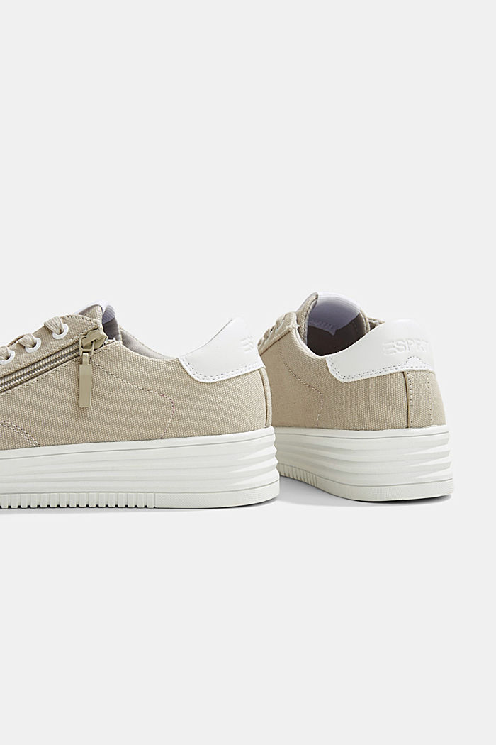 Canvas trainers with a platform sole, LIGHT GREY, detail image number 5