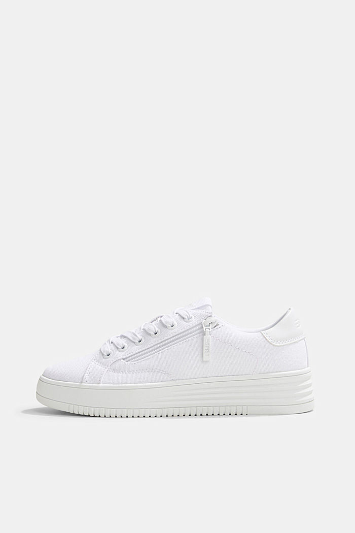 Canvas trainers with a platform sole, WHITE, detail image number 0