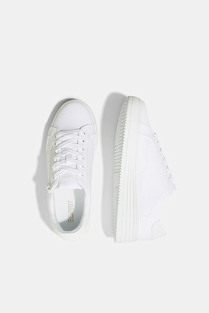 Canvas trainers with a platform sole, WHITE, detail image number 1