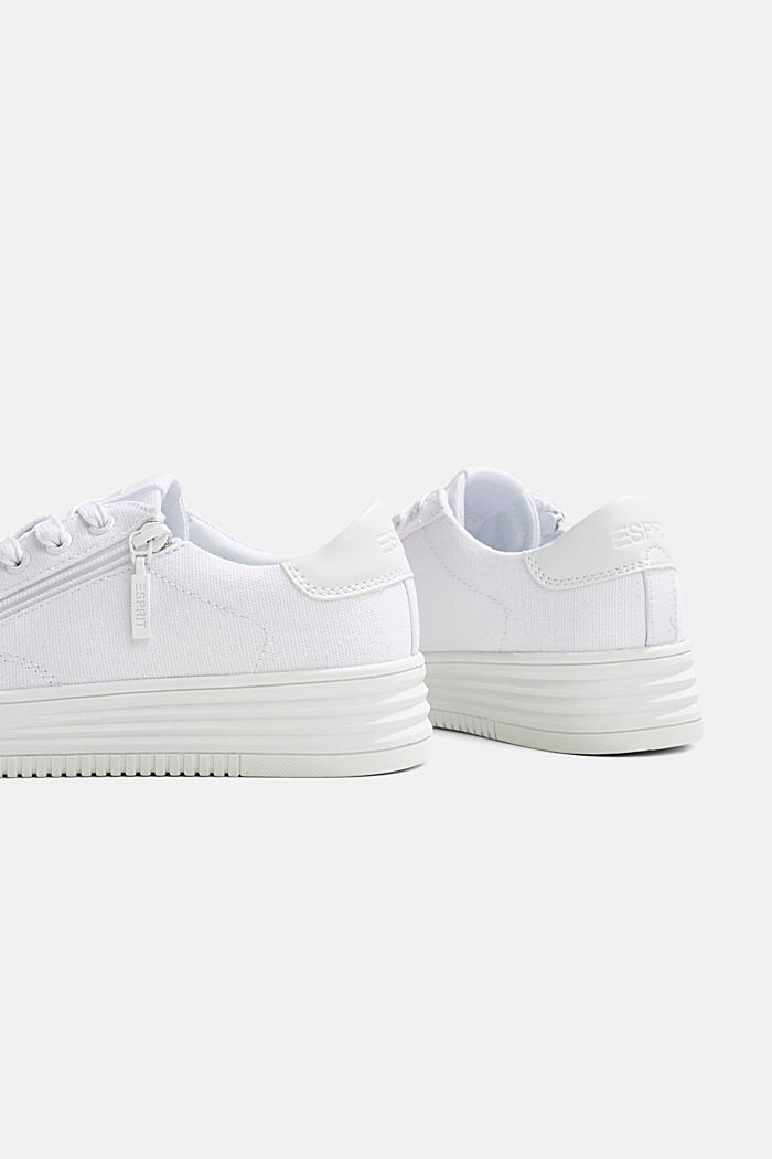 Canvas trainers with a platform sole, WHITE, detail image number 5