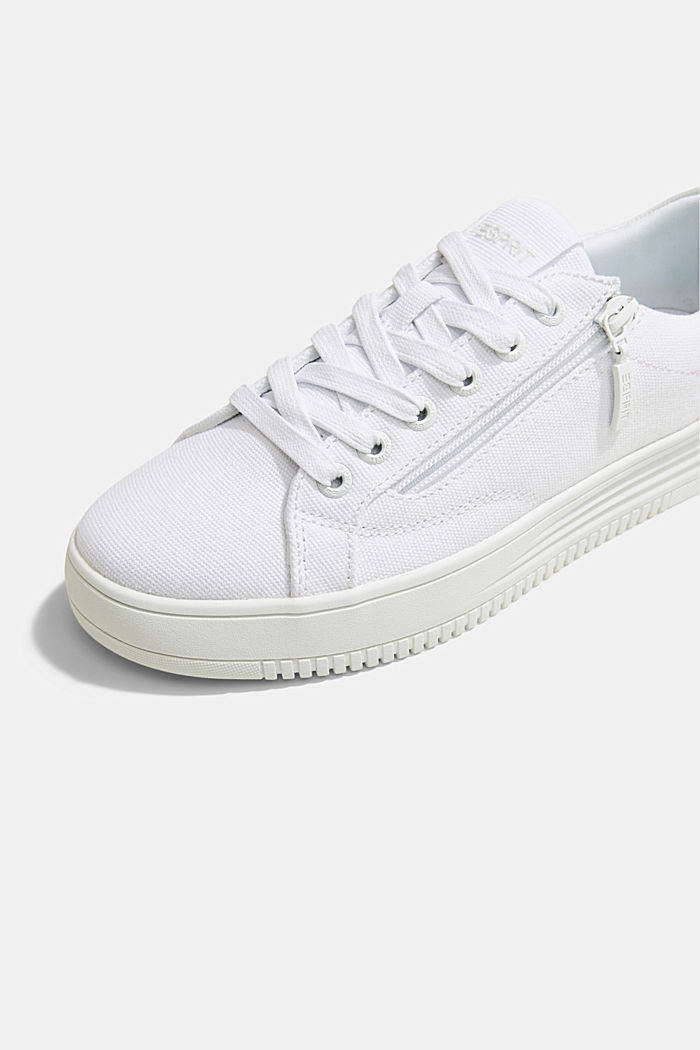 Canvas trainers with a platform sole, WHITE, detail image number 4
