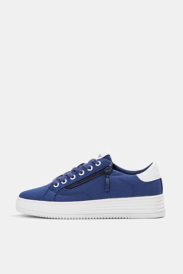 Canvas-Sneaker mit Plateau-Sohle, DARK BLUE, detail image number 0