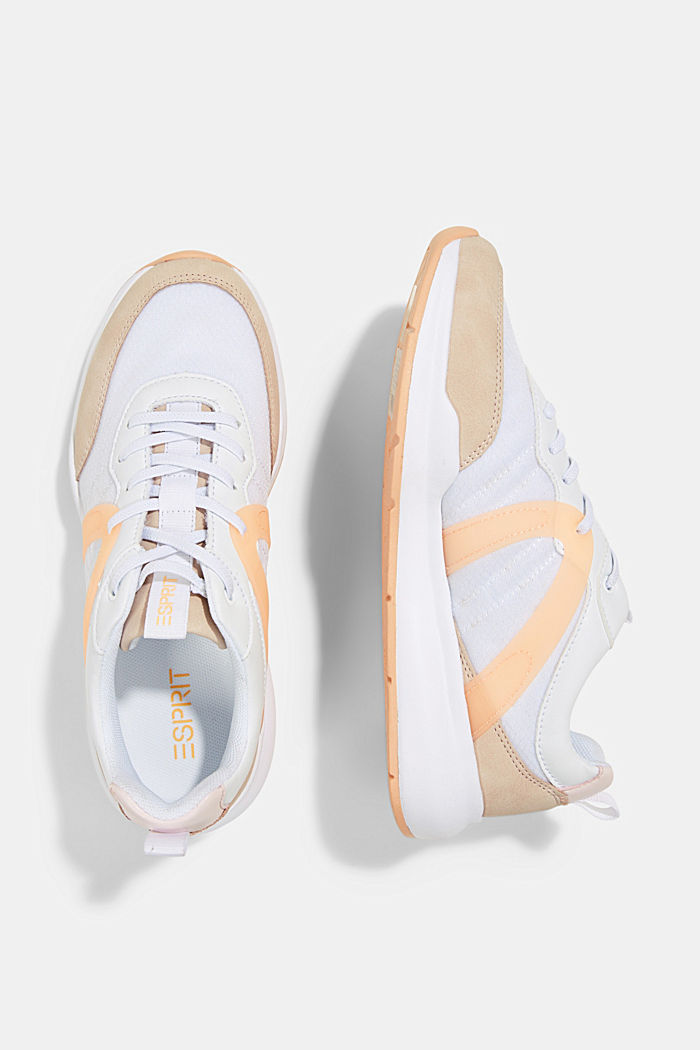Material mix fashion trainers, ORANGE, detail image number 1