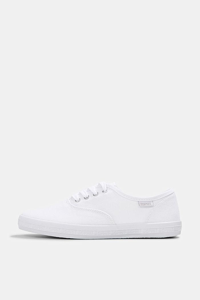 Canvas-Sneaker mit Logo-Sohle, WHITE, detail image number 0