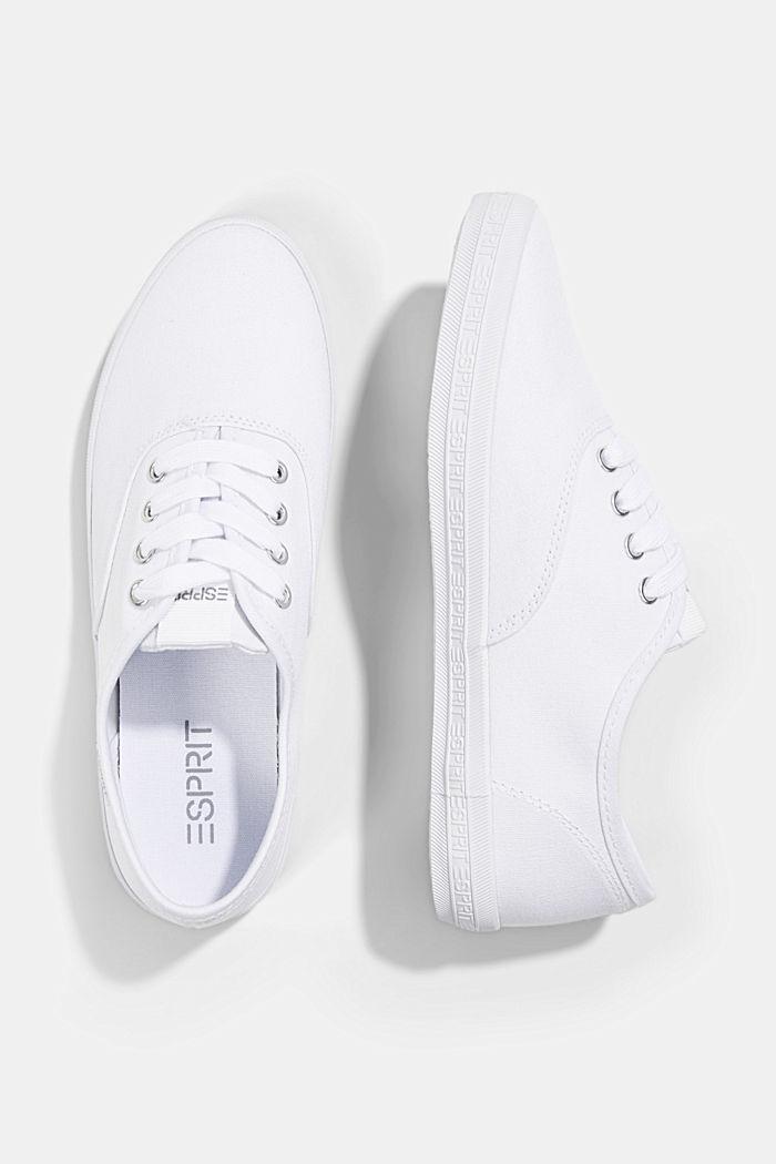 Canvas-Sneaker mit Logo-Sohle, WHITE, detail image number 1