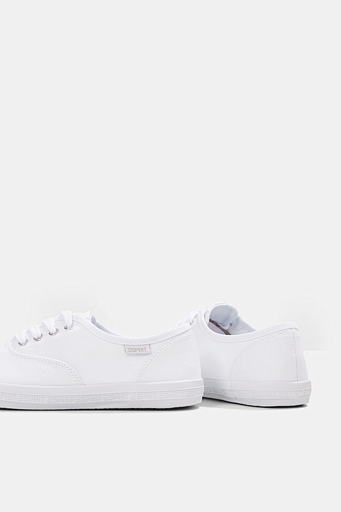 Canvas trainers with a logo sole, WHITE, detail image number 5