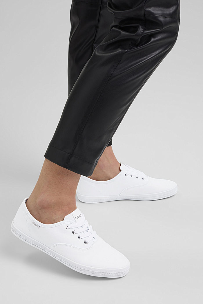 Canvas-Sneaker mit Logo-Sohle, WHITE, detail image number 3