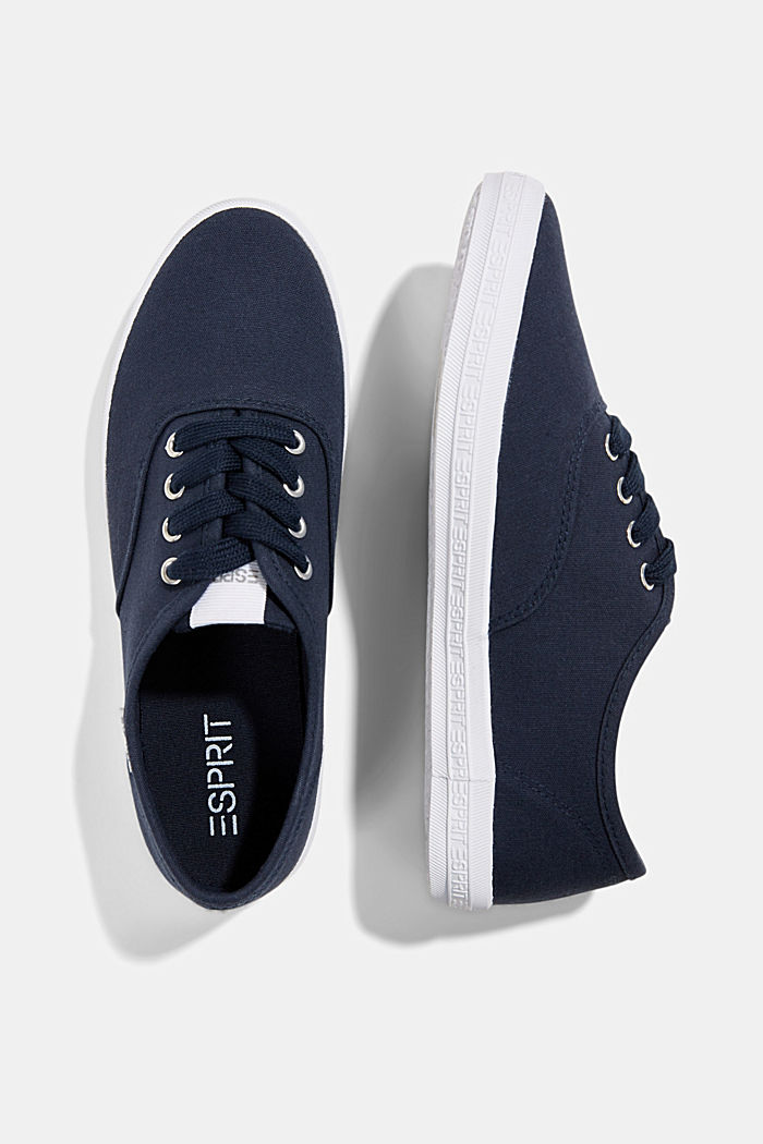 Canvas trainers with a logo sole, NAVY, detail image number 1
