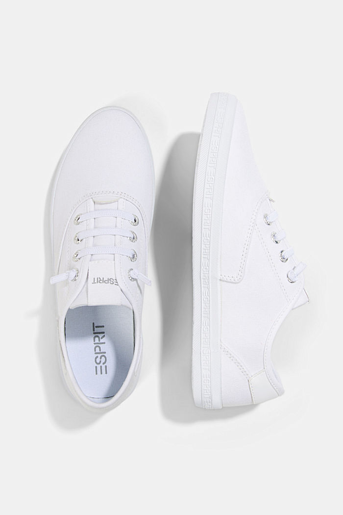 Canvas trainers with a logo sole, WHITE, detail image number 1