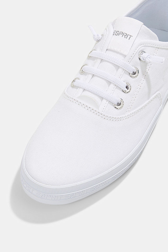 Canvas trainers with a logo sole, WHITE, detail image number 4