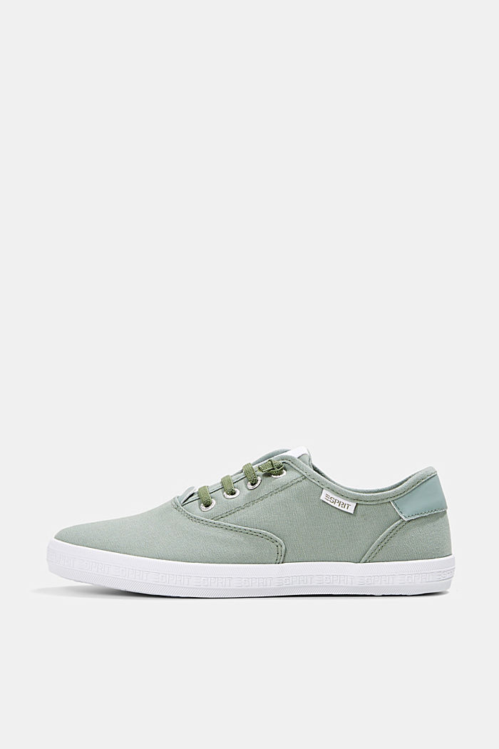 Canvas-Sneaker mit Logo-Sohle, DUSTY GREEN, detail image number 0
