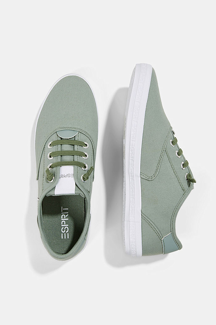 Canvas-Sneaker mit Logo-Sohle, DUSTY GREEN, detail image number 1