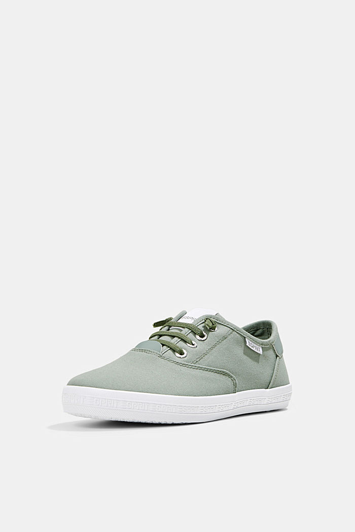 Canvas-Sneaker mit Logo-Sohle, DUSTY GREEN, detail image number 2