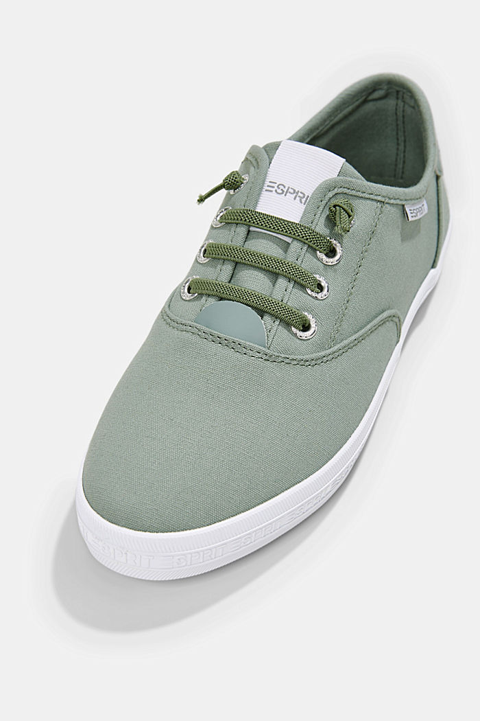 Canvas-Sneaker mit Logo-Sohle, DUSTY GREEN, detail image number 4