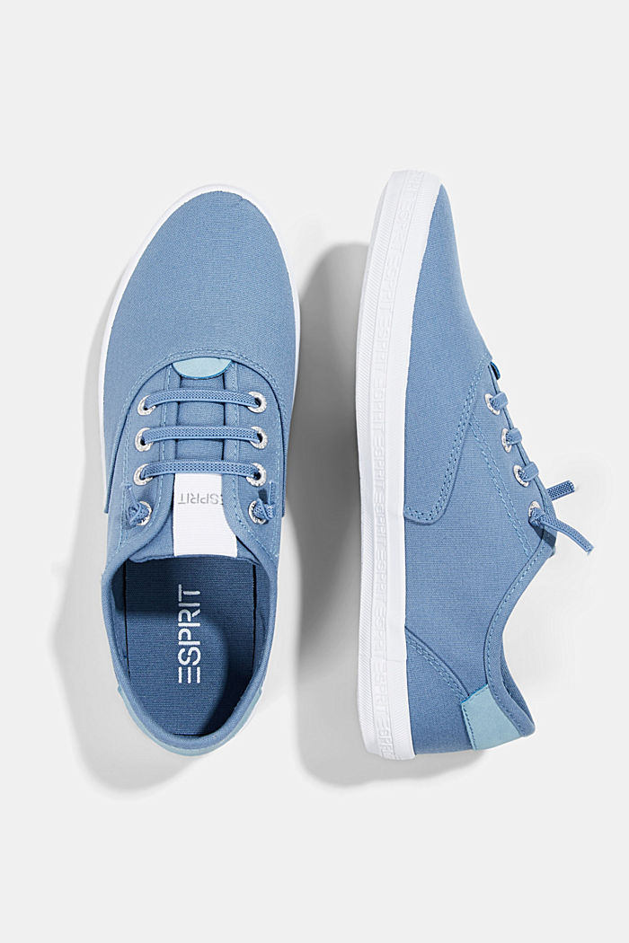 Canvas trainers with a logo sole, GREY BLUE, detail image number 1