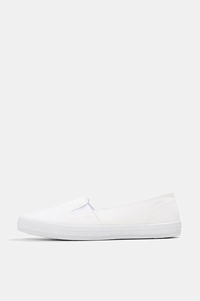 Slip-on canvas trainers with a logo sole, WHITE, detail image number 0